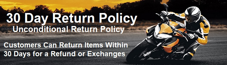 return policy banner at billys biker gear