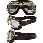 Nannini Gold Motorcycle Goggles Clear Lenses