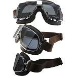 Nannini Custom Biker Goggles Smoke Lenses Brown Leather