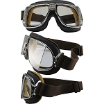 Nannini Custom Biker Goggles Clear Lenses Brown Leather