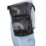 Black Leather Thigh Bag with Gun Pocket