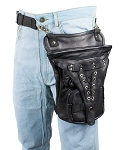Gun Pocket Leather Thigh Bag with Cross Stitch