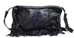 Womens Purple Rose Inlay Purse with Fringe