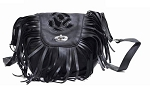 Womens Black Rose Inlay Purse with Fringe