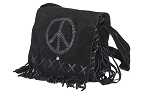 Womens Black Suede Purse With Peace Sign