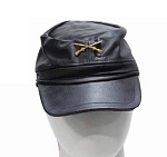 Adjustable Leather Cap with Crossed Rifles