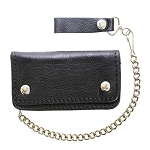 Biker Black Bi-fold Chain Wallet with Zipper