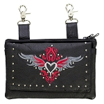 Studded Leather Hip Bag with Red/Gray Heart