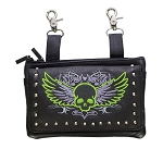Leather Hip Bag Purse Studded Lime Green Skull