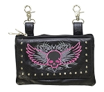 Womens Pink Flying Skull Studded Hip Bag Purse