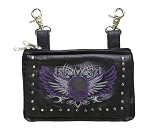 Womens Purple Flying Skull Studded Hip Bag Purse