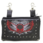 Studded Winged Red Skull Leather Hip Bag