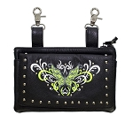 Studded Green Butterfly Leather Hip Bag Purse