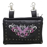 Womens Studded Pink Butterfly Hip Bag Purse