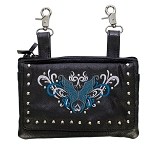 Studded Teal Blue Butterfly Leather Hip Bag Purse