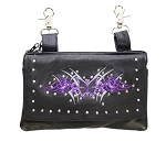 Hip Bag Purse with Purple Butterfly and Studs