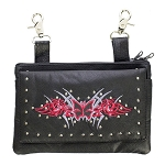 Studded Red Butterfly Leather Hip Bag