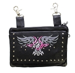 Hip Bag Purse with Pink/Gray Eagle and Studs