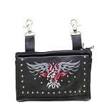 Womens Studded Leather Hip Bag with Eagle