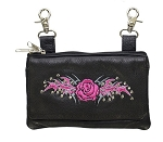 Womens Studded Hip Bag Purse with Pink Rose