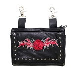 Womens Red Rose Studded Leather Hip Bag Purse