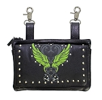 Studded Heart with Green Wings Leather Hip Bag Purse