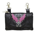 Womens Studded Hip Bag Purse with Pink Wings