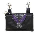 Womens Studded Hip Bag Purse with Purple Wings