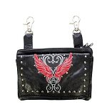 Womens Studded Leather Hip Bag with Red Wings