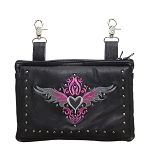 Studded Gun Holster Hip Bag with Pink & Silver Heart