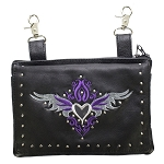 Studded Gun Holster Hip Bag with Purple & Silver Heart