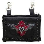 Studded Gun Holster Hip Bag with Red & Silver Heart