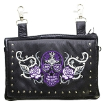 Studded Gun Holster Hip Bag with Purple Skull