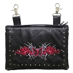 Studded Gun Holster Hip Bag with Red & Silver Butterfly