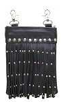 Womens Leather Hip Bag with Studs and Fringe
