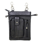 Womens Multi Pocket Leather Hip Bag Purse