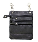 Womens Leather Hip Bag Purse with Zippers