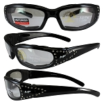 Motorcycle Sunglasses with Rhinestones Clear Lenses