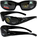 Motorcycle Sunglasses with Rhinestones Smoke Lenses