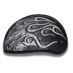 DOT Motorcycle Half Helmet with Gray Flames