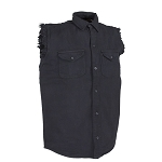 Men's Black Sleeveless Denim Shirt with Buttons