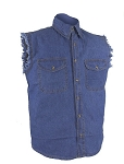 Men's Blue Sleeveless Denim Shirt with Buttons