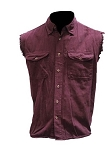 Men's Burgundy Sleeveless Denim Shirt with Buttons