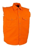 Men's Orange Sleeveless Denim Shirt with Buttons