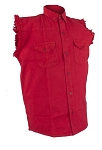 Men's Red Sleeveless Denim Shirt with Buttons