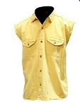 Men's Sleeveless Denim Yellow Shirt with Buttons
