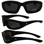 Foam Padded Biker Sunglasses Smoke Lenses