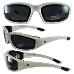 Motorcycle Sunglasses White Frame Dark Lenses