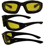 Foam Padded Biker Sunglasses Yellow Lenses