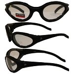 Motorcycle Sunglasses Clear Lenses Raven